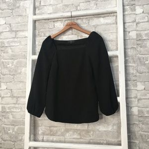 J Crew Square-Neck Long-Sleeve Top Black Size 0